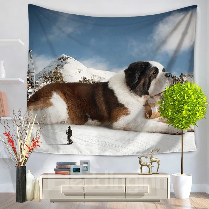 Saint Bernard Dog on Mountain Climax Pattern Decorative Hanging Wall Tapestry 12952262
