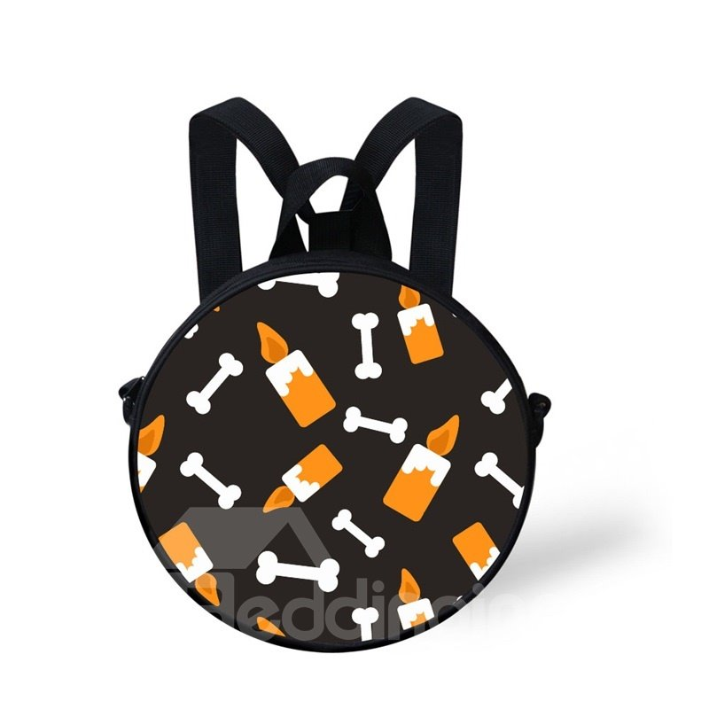 Round 3D Candle Bone Pattern School Bag
