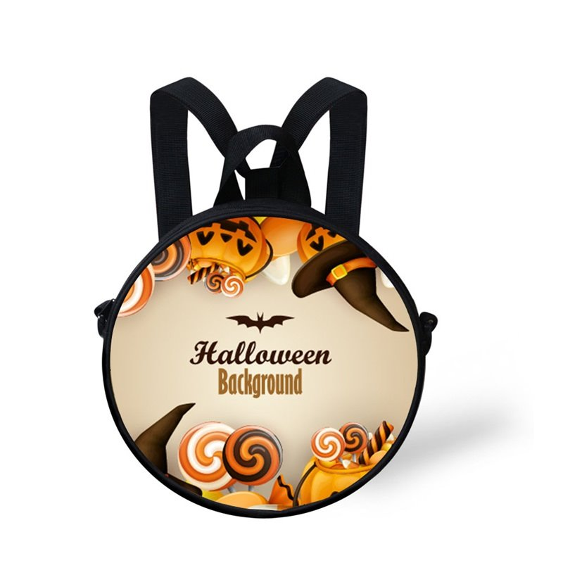 Round 3D Halloween Bat Pattern School Bag