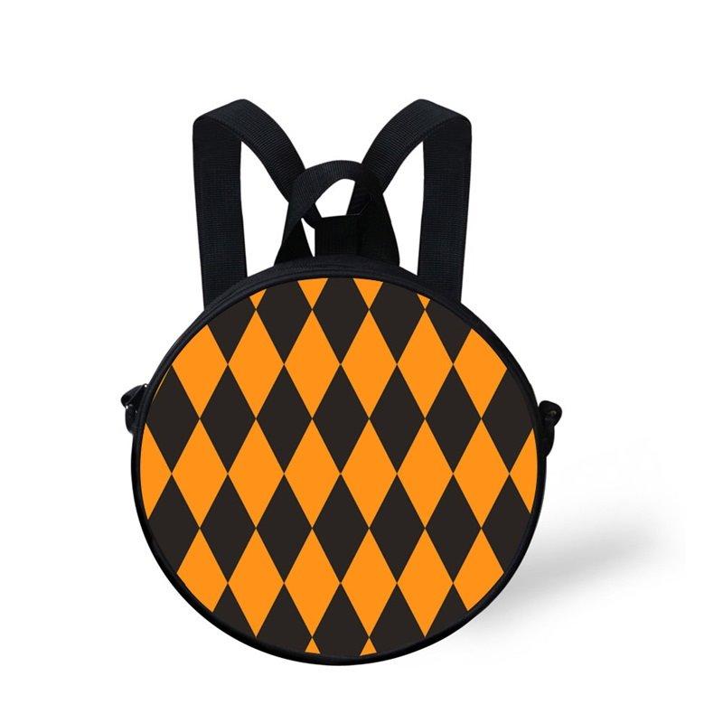 Pumpkin Color Geometry Pattern School Bag Shoulders