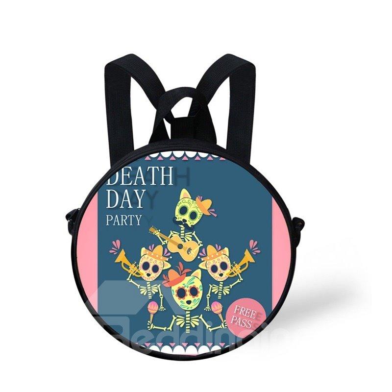 Round 3D Halloween Skull Pattern School Bag