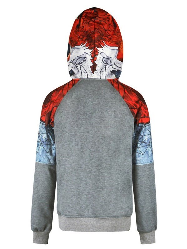 Red Color Block Long Sleeve 3D Pattern Men's Hoodie 12959644