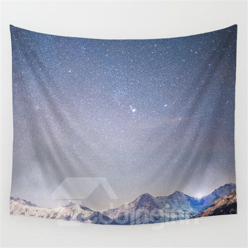 Dawn Galaxy Stars Twinkle and Mountain Climax Pattern Decorative Hanging Wall Tapestry 12960841