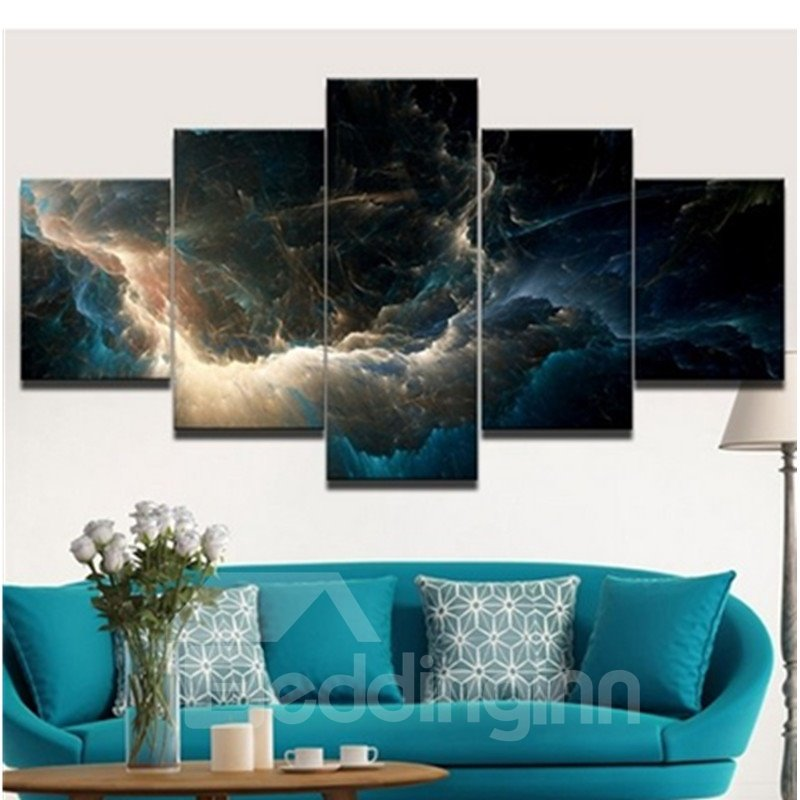 Thunder and Crowded Clouds Hanging 5-Piece Canvas Eco-friendly and Waterproof Non-framed Prints