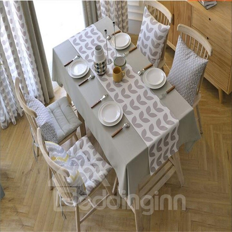 Solid Gray Color Polyester Cotton Elegant and Pastoral Style Hotel Table Cover