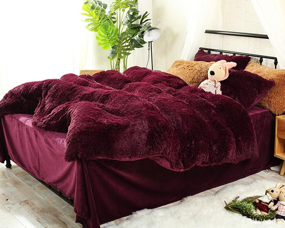 Full Size Burgundy Red Super Soft Plush 4-Piece Fluffy Bedding Sets/Duvet Cover