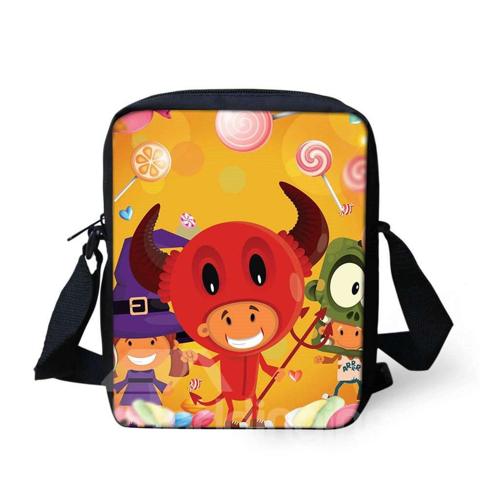 3D Halloween Cow Pattern Messenger School Bag
