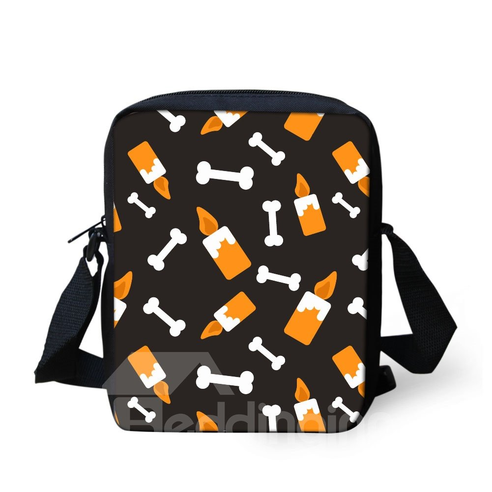 3D Halloween Candle Bone Pattern Messenger School