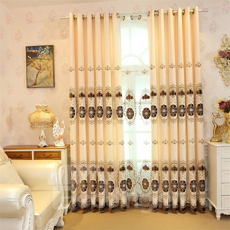 Light Yellow Color with Polka Dots Embroidered Flowers 2 Panels Decorative Curtain