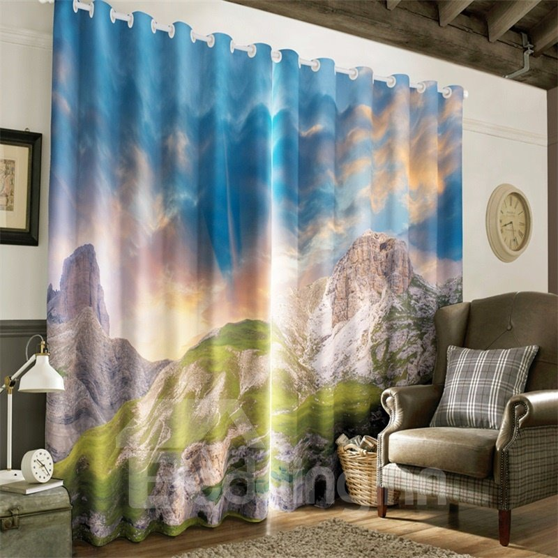 3D Naked Mountains and Blue Sky Printed 2 Panels Living Room and Window Room Curtain 13015715