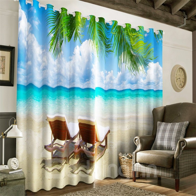 3D Blue Sea and Clean Sky with Leisure chairs Printed 2 Panels Living Room Window Curtain 13017555
