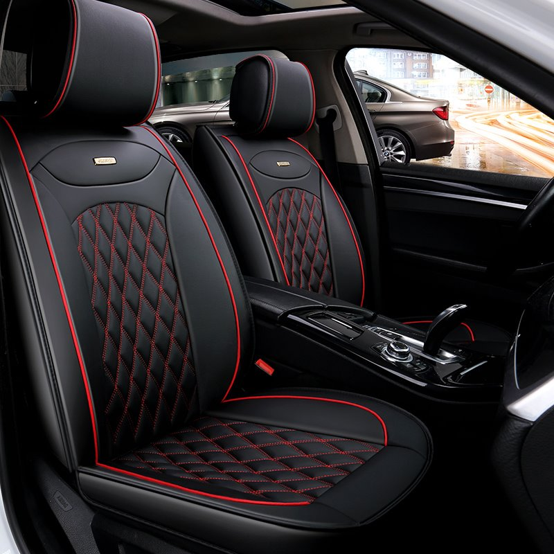 Luxurious Color Brilliancy Plaid Leather Universal Car