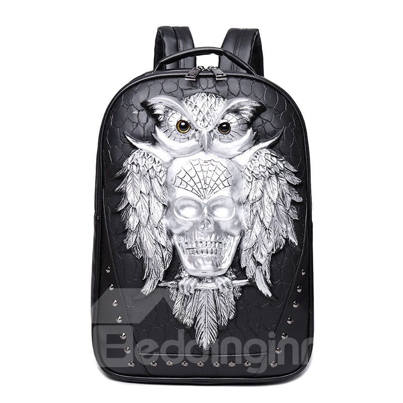3D Owl and Skull Studded College Backpack
