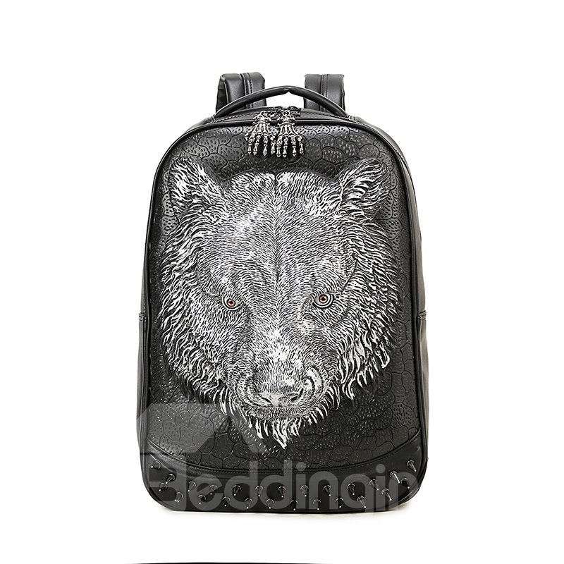 Tiger Head 3D PU Leather Casual Laptop