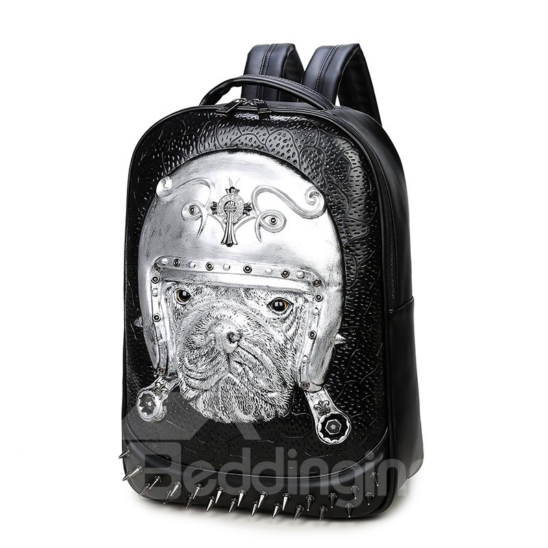 3D French Bulldog Studded College Backpack PU