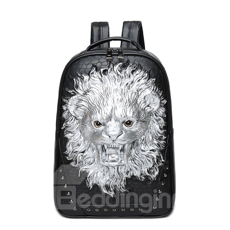 Lion Roar Head 3D PU Leather Casual