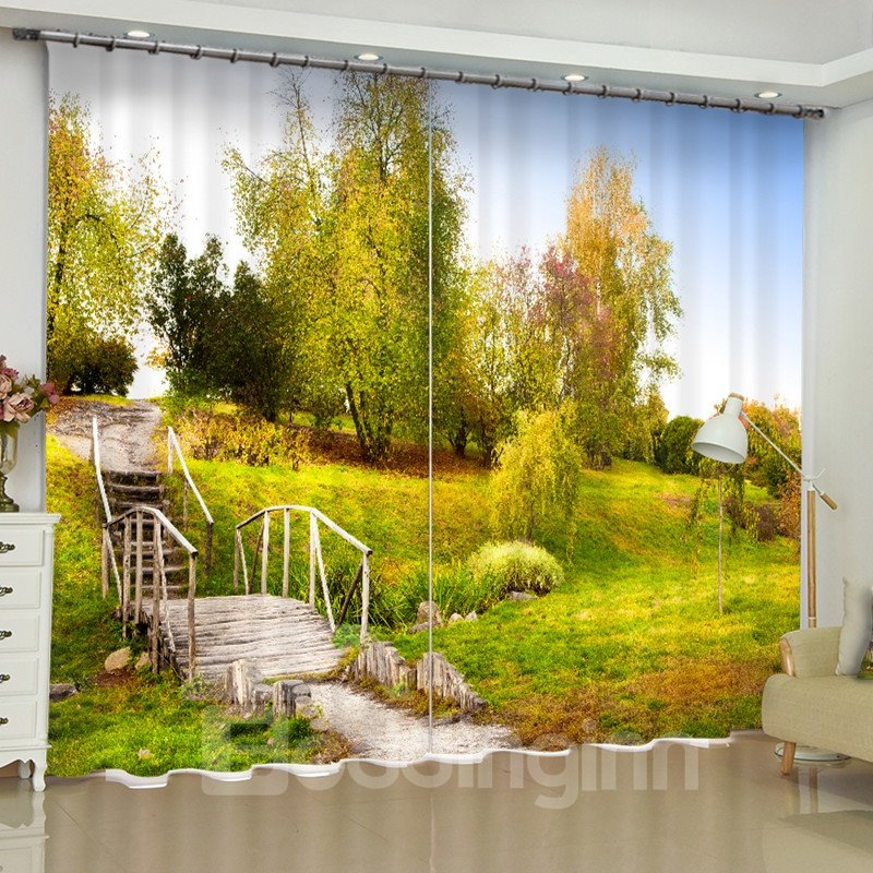 3D Yellow Trees Printed Autumn Scenery 2 Panels Custom Curtain for Living Room
