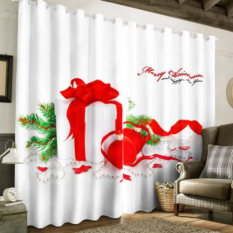 3D Christmas Gifts Printed 2 Panels Blackout Curtain for Living Room