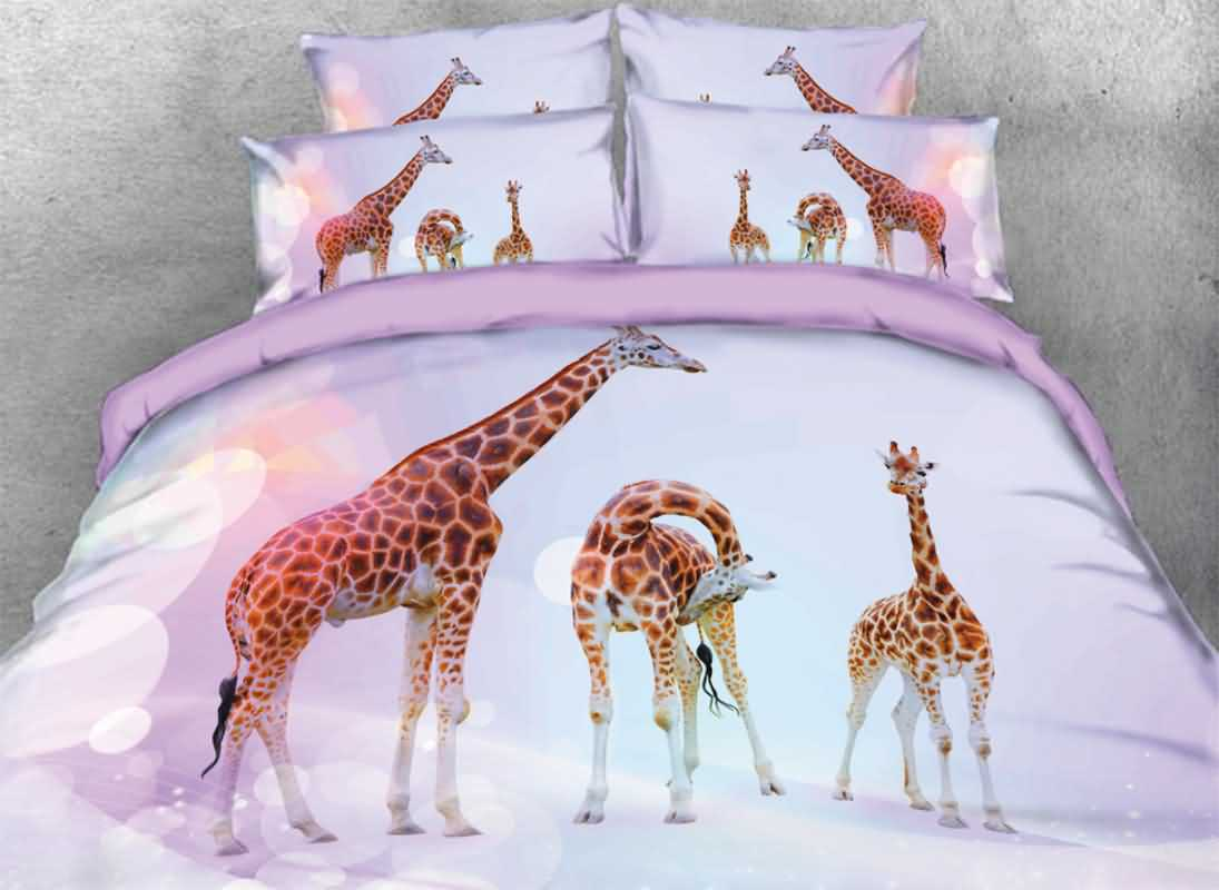 Onlwe 3D Giraffe Family Printed 4-Piece Bedding Sets/Duvet Covers 13083429