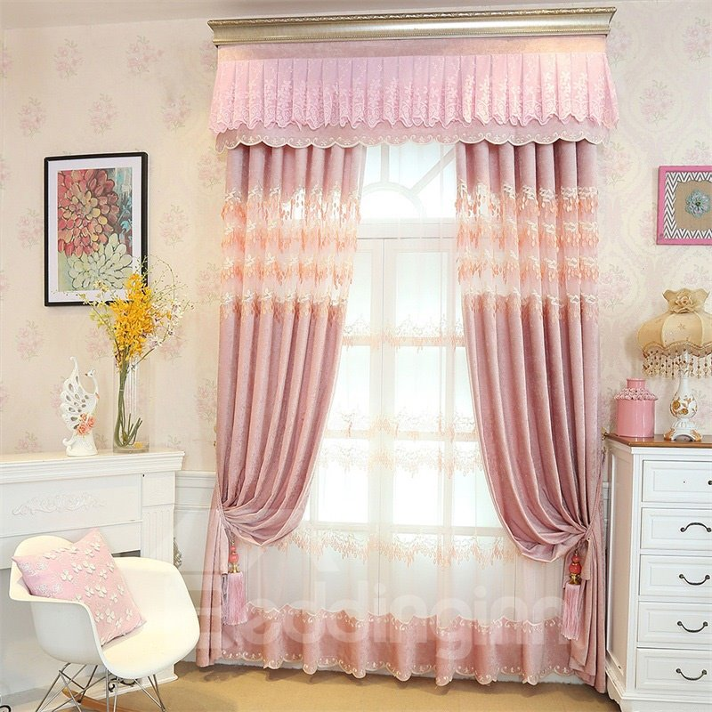 European Style Romantic Pink Custom Chenille Living Room Grommet Top Curtain 13084172