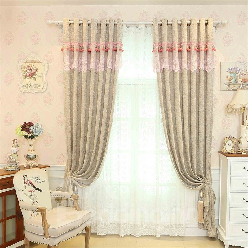 Modern and Concise Style Chenille Custom Sheer Curtain for Living Room