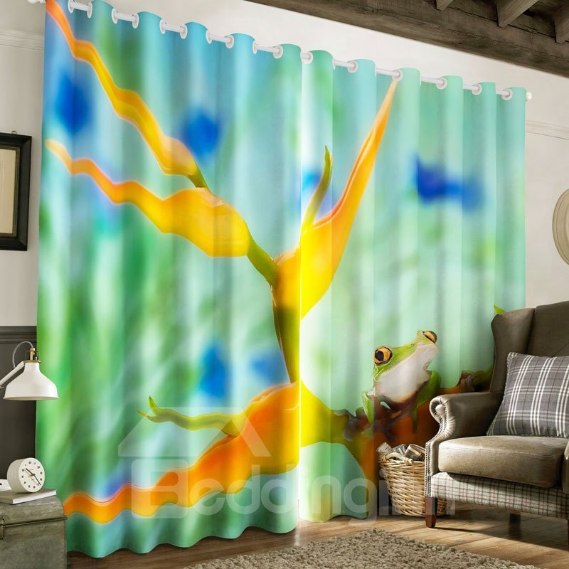 3D Frog and Yellow Flowers Printed 2 Panels Living Room Custom Curtain