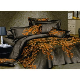Gorgeous 4 Piece Cotton Bedding Sets with Gold Pattern