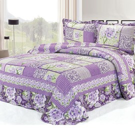 Romantic Purple Flowers Pattern Bed in a Bag Set