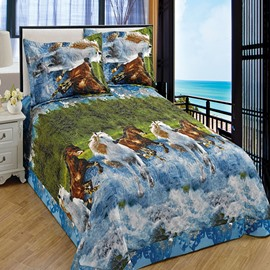 High Quality Vivid Horses Printing  3-Piece Bedding Set