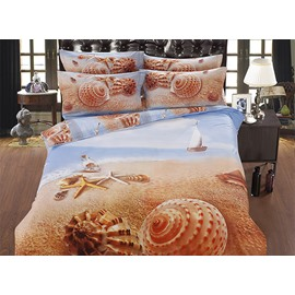 Classy Beach Shell Printing Cotton 5-Piece Comforter Sets