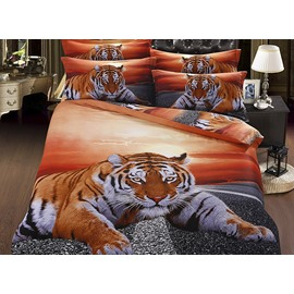 Chic Lying Tiger under Twilight 5-Piece Cotton Comforter Sets
