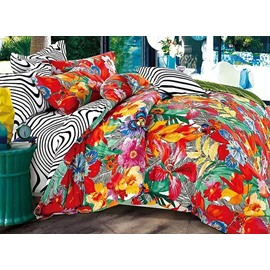 Dazzling Colorful Flowers Print 4-Piece Duvet Cover Sets