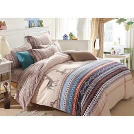 European Style Elk Jacquard Design 4-Piece Cotton Christmas Duvet Cover Sets