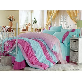 High Quality Beautiful Blue Color Rose Floral Borders Chiffon 4 Piece Bedding Sets