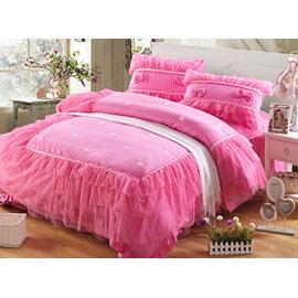 Hot Selling Pink Lace Pattern 4-Piece Cotton Princess Duvet Cover Sets