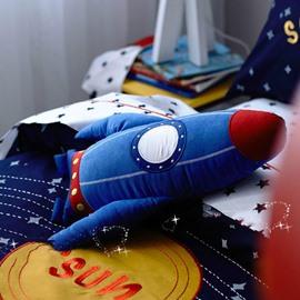 Solar System Applique Embroidery 4-Piece Cotton Kids Duvet Cover Sets