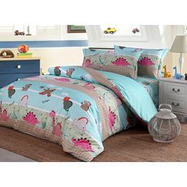 Bright Lovely Dinosaur Pattern Pure Cotton 4-Piece Duvet Cover Sets