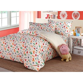 Lovely Colorful Animals Pattern Kids Organic Cotton 4-Piece Duvet Cover Sets