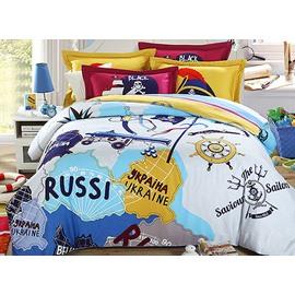 Adventure Theme Kids 4 Piece Organic Cotton Duvet Cover Sets