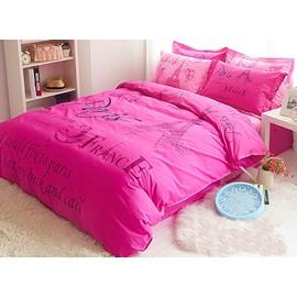 Pink and Romantic Paris Theme Cotton Kids Duvet Cover Set