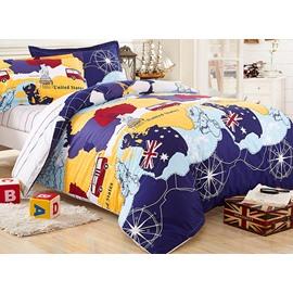World Travel Theme Kids Organic Cotton 3-Piece Duvet Cover Set