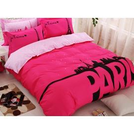 Glamorous Paris Print Cotton 4-Piece Duvet Cover Set