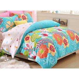 Summer Flowers Blossom Print Kids Duvet Cover Set