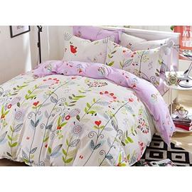 Graceful Flowers and Vines Pattern Kids Cotton Duvet Cover Sets