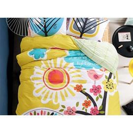 Cute Bird Singing Under The Sun Print Kids Cotton 4-Piece Duvet Cover Sets