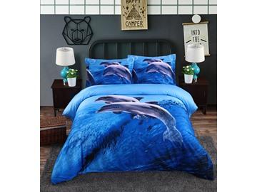 Blue Dolphins Reactive Printing 4-Piece Cotton Duvet Cover Sets