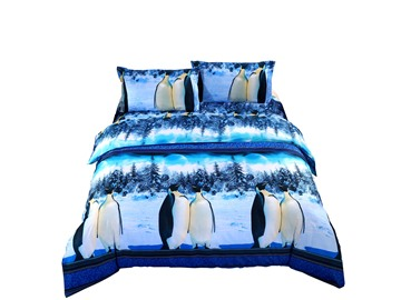 AntarcticPenguin Snow Scene 3D Print 4 Piece Polyester Bedding Sets