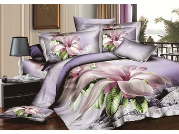 Lilac Orchid Big Flower Print 4 Piece Duvet Cover Sets