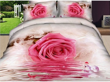 Romantic Pink Roses Print 4 Piece Bedding Sets