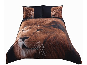 Inspiring Lion with Black Background Print 4-Piece Polyester 3D Duvet Cover Sets